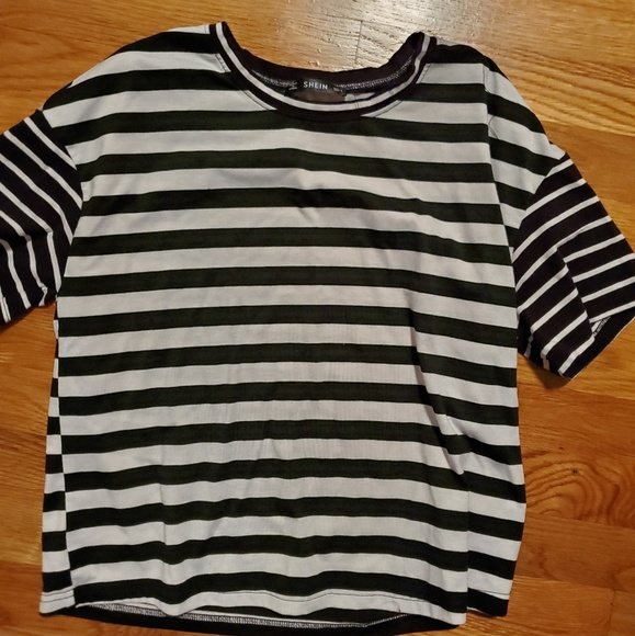 SHEIN Tops - Black and white striped tee shirt
